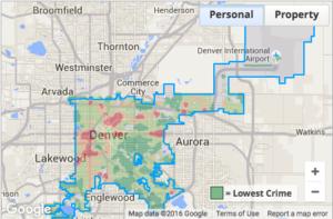 Personal crime map, Denver