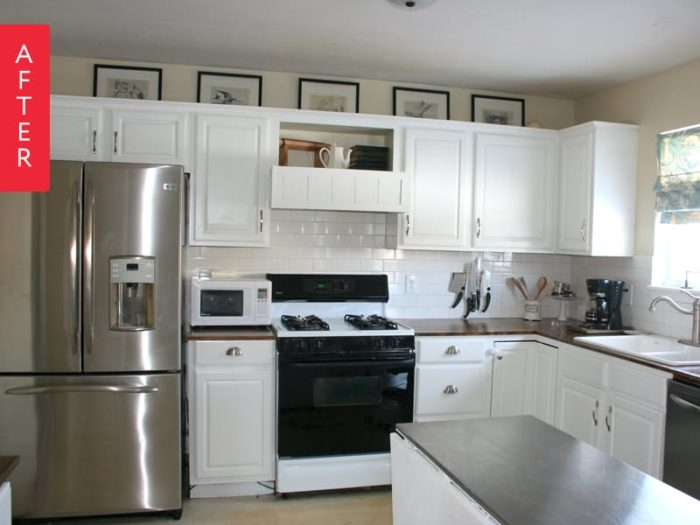 One of our favorite kitchen update ideas? Painting cabinets white