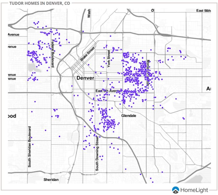 The spread of tudor homes across Denver.