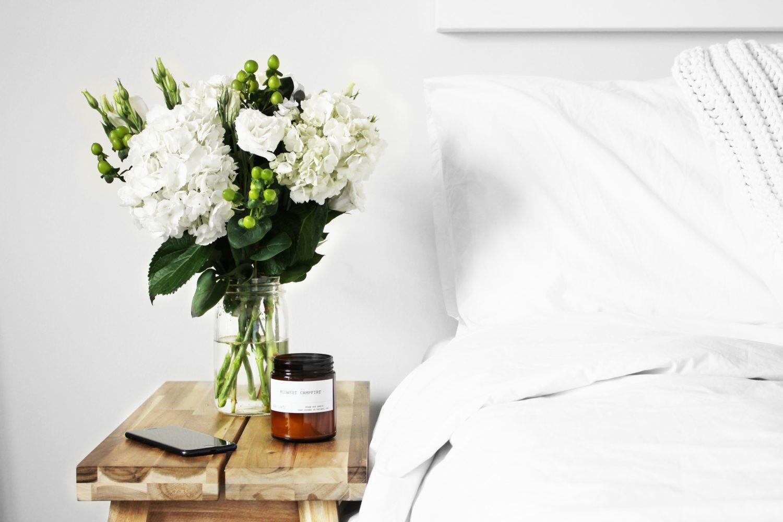 flowers staging bedroom