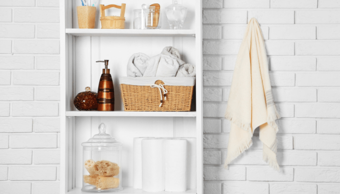 Bathroom staging uses creative storage and shelving solutions