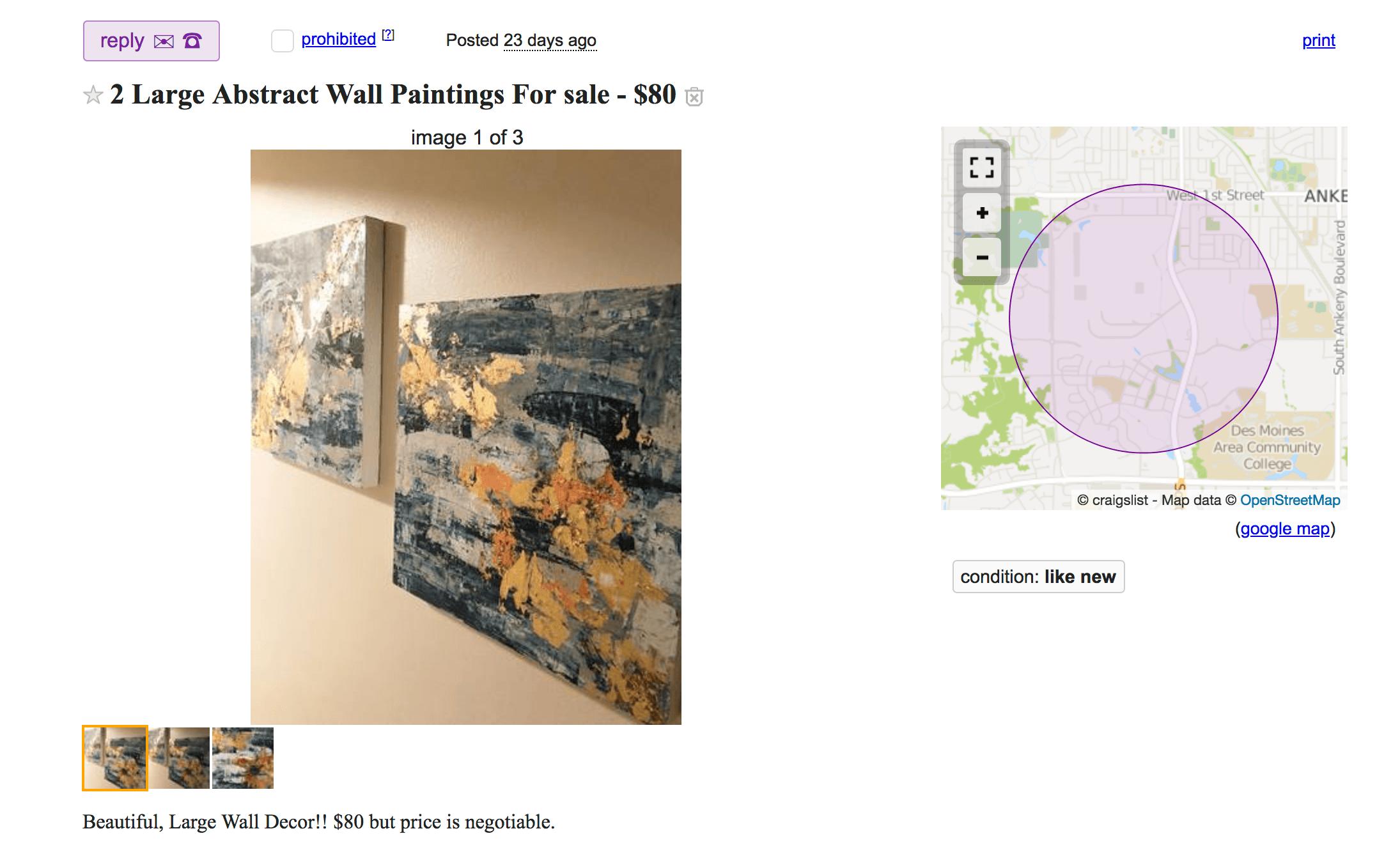 hunt craigslist for bargains on art for living room staging.png