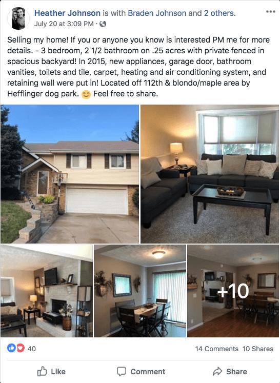 real estate listing facebook post