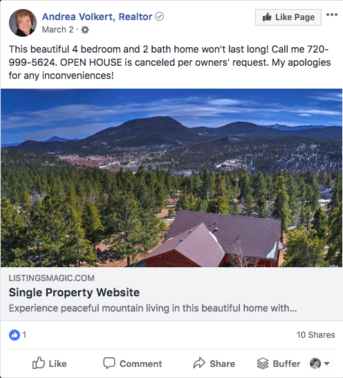 realtor single property listing on facebook