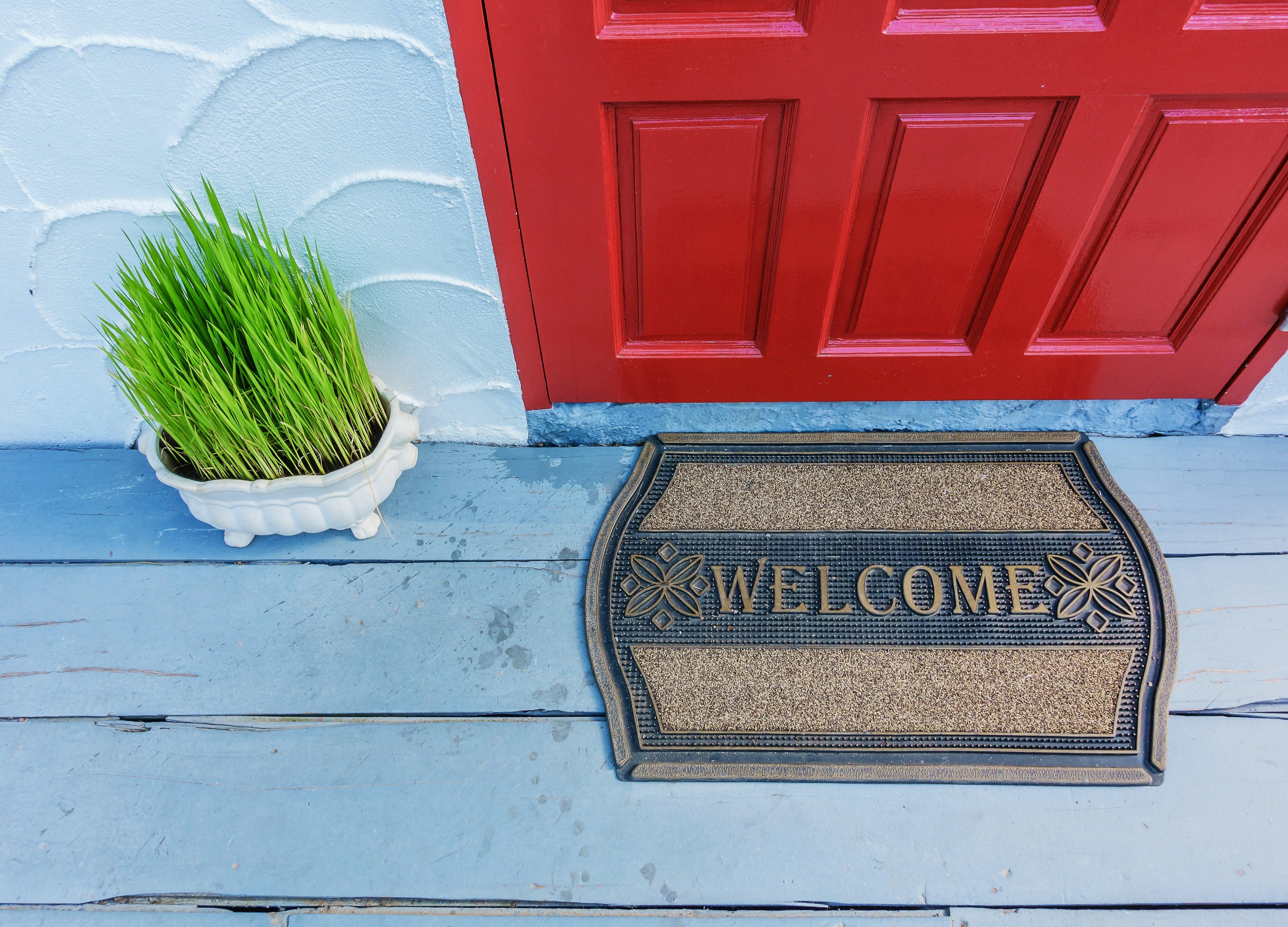 front door curb appeal welcome mat