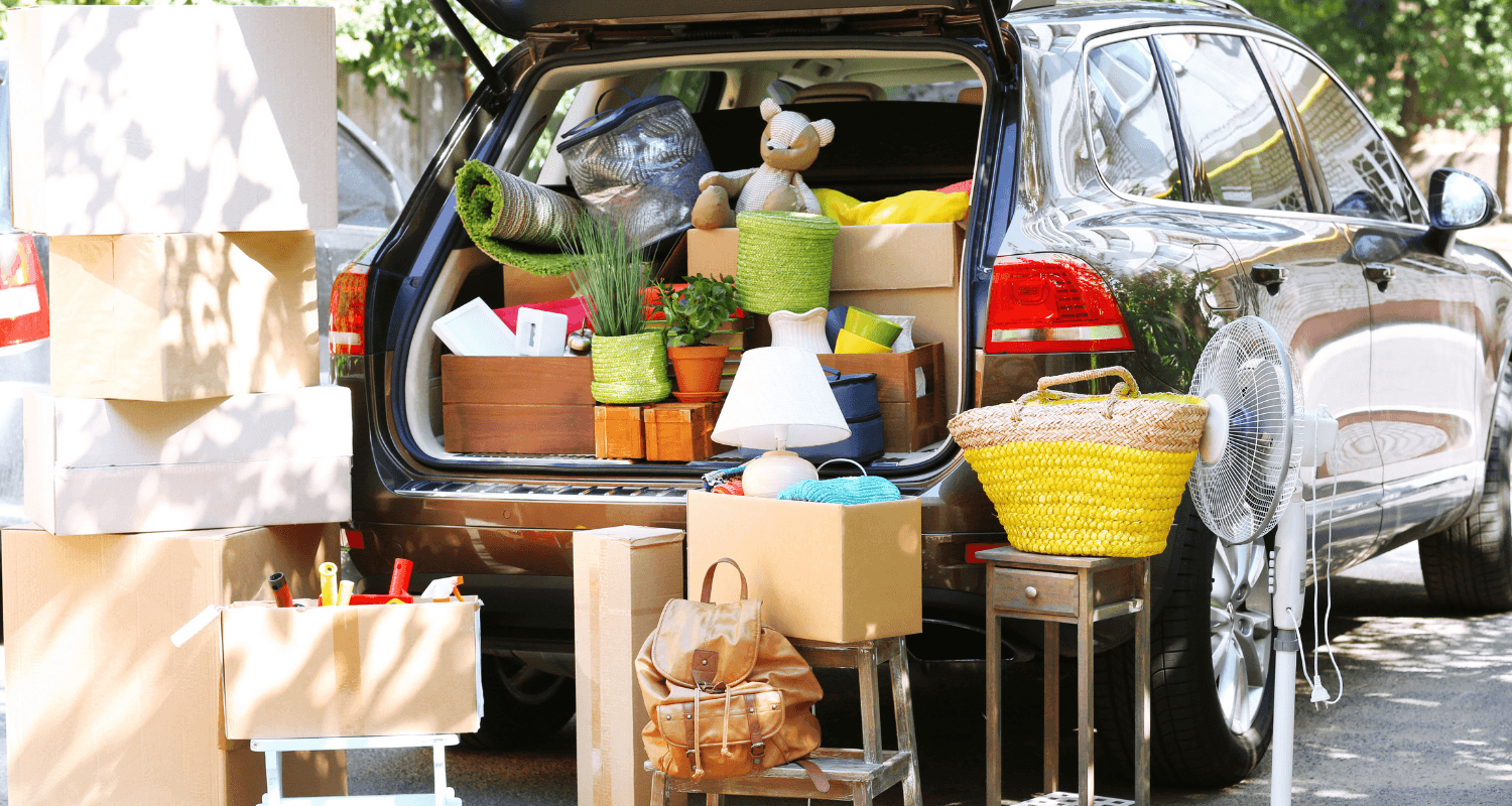 A car full of moving items on a checklist.