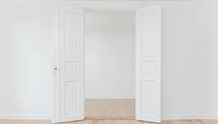 Room that is painted white while staging a home.