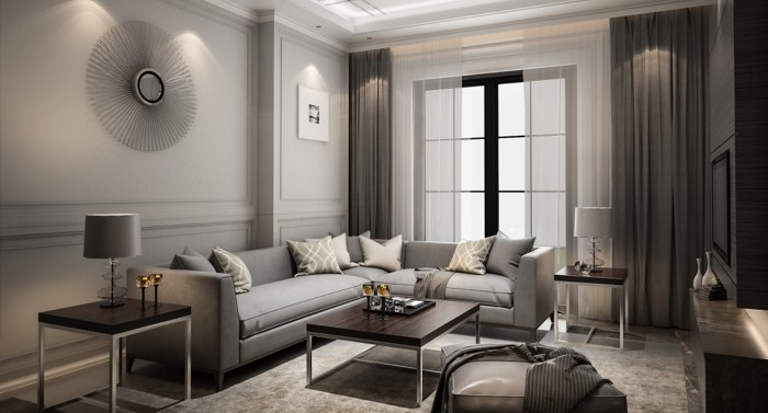 A room that has been painted gray while staging a home.
