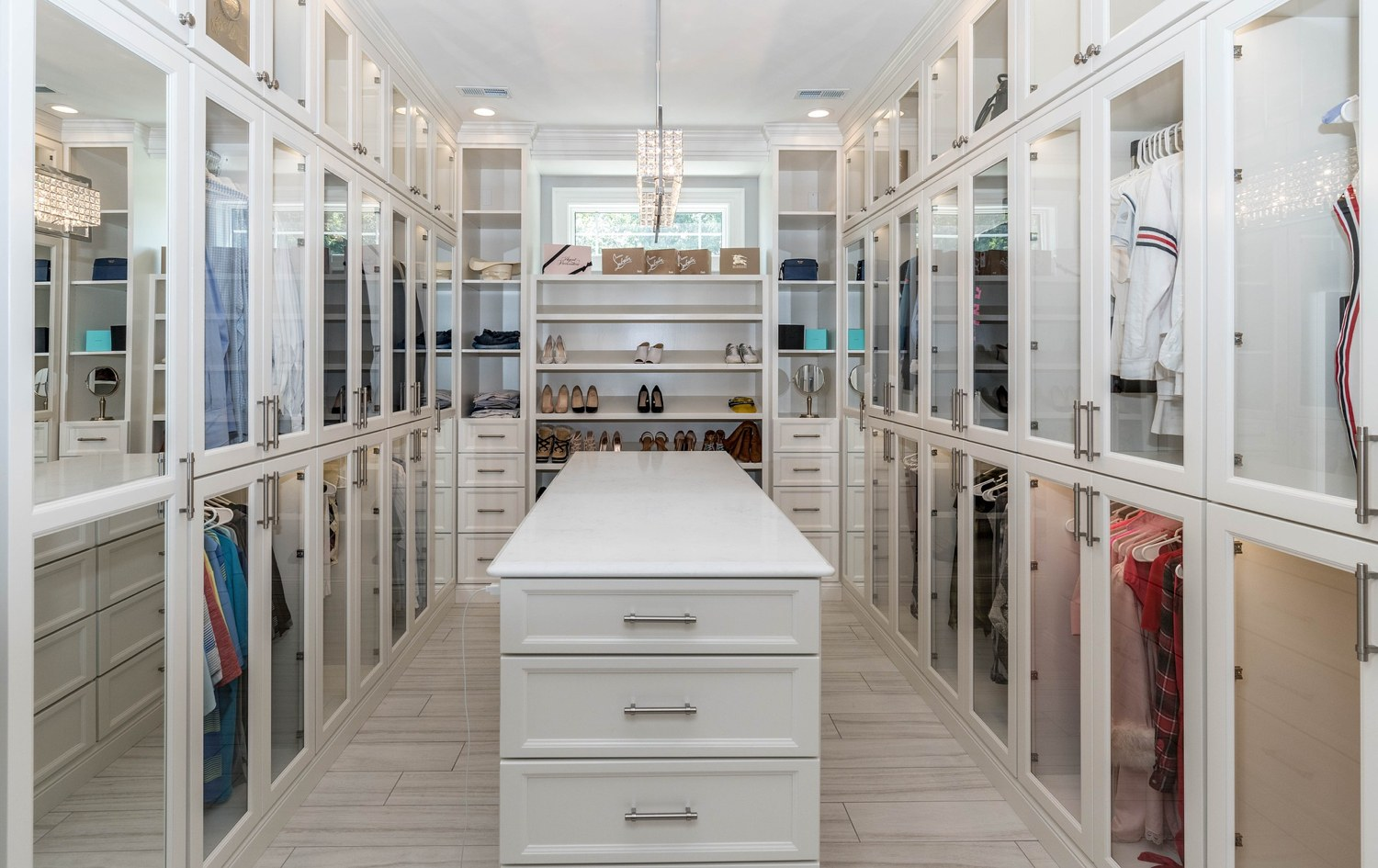 A luxury closet that has been organized.