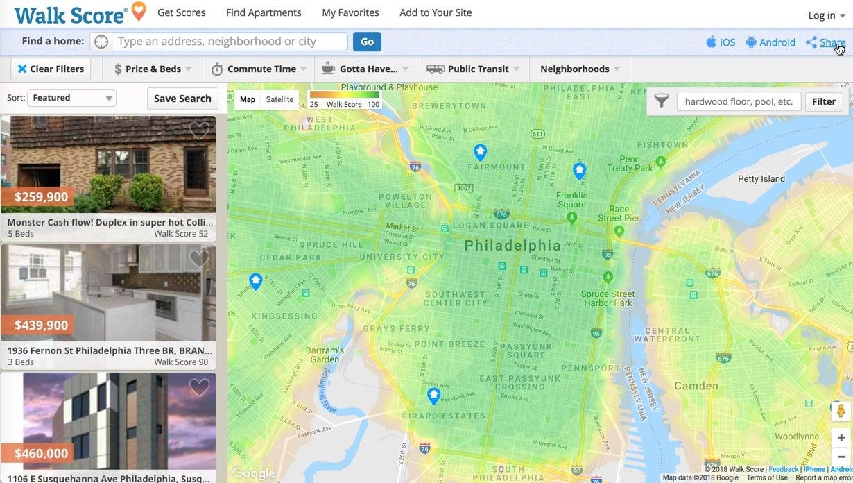 Walkscore is an open house app.
