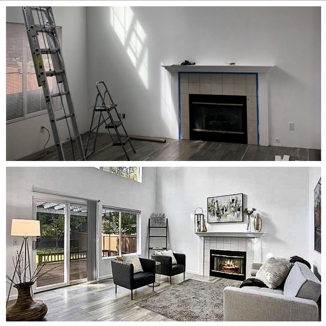 Before and after home staging at a low cost.