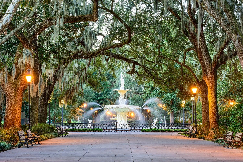 Park with fountain near Savannah home for sale.