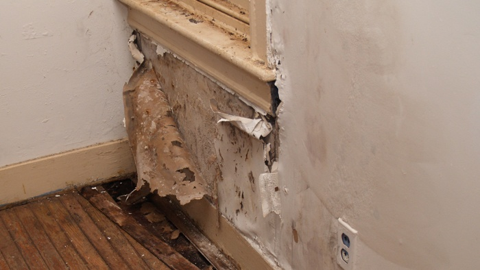 Wall in house showing signs of water damage.