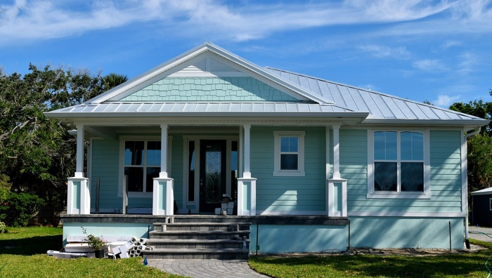 A house with blue exterior paint.