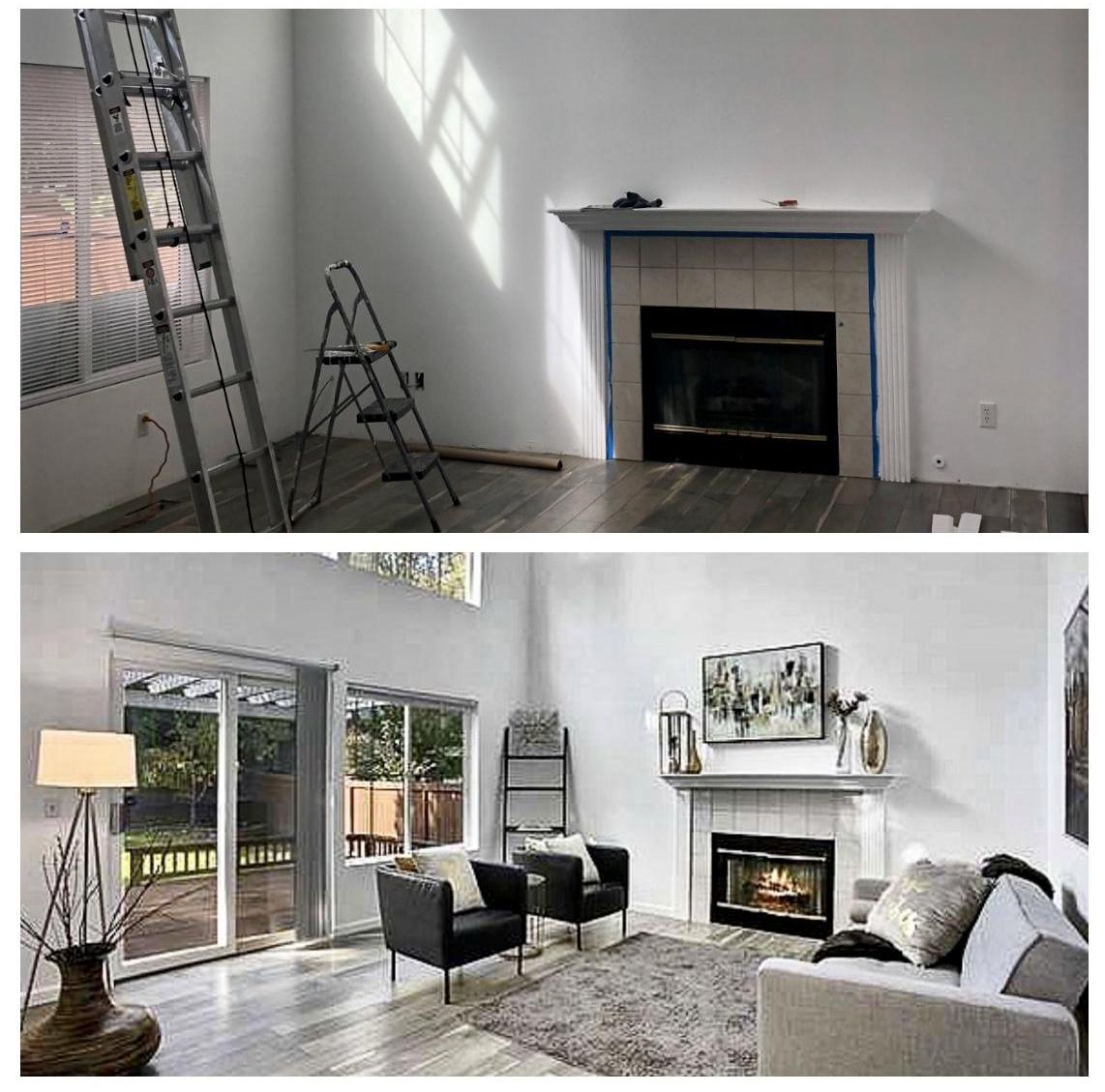 Before and after staging with furniture rental.