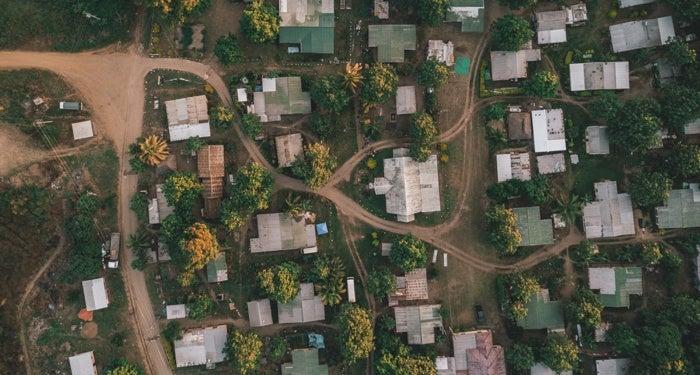 A neighborhood with family friendly houses.