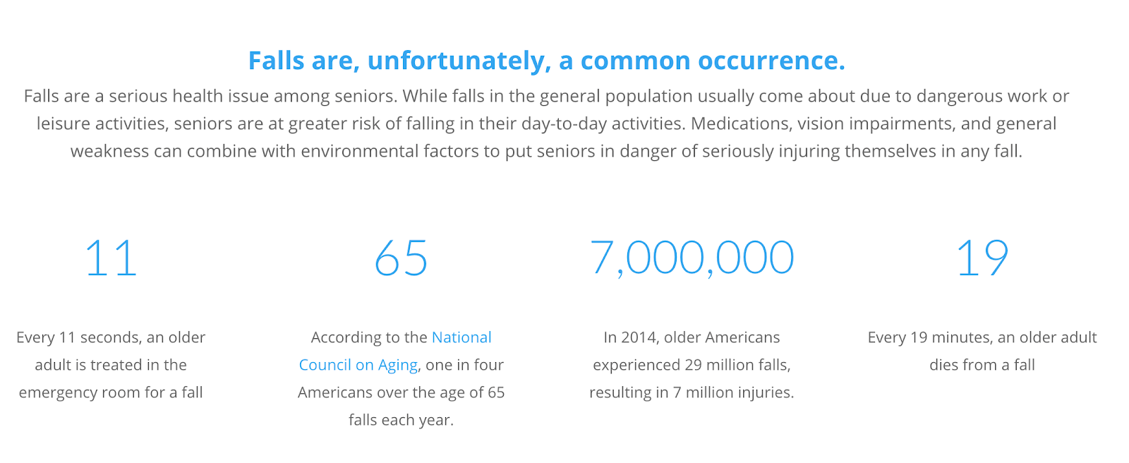 Infographic showing statistics of falling in retirement.