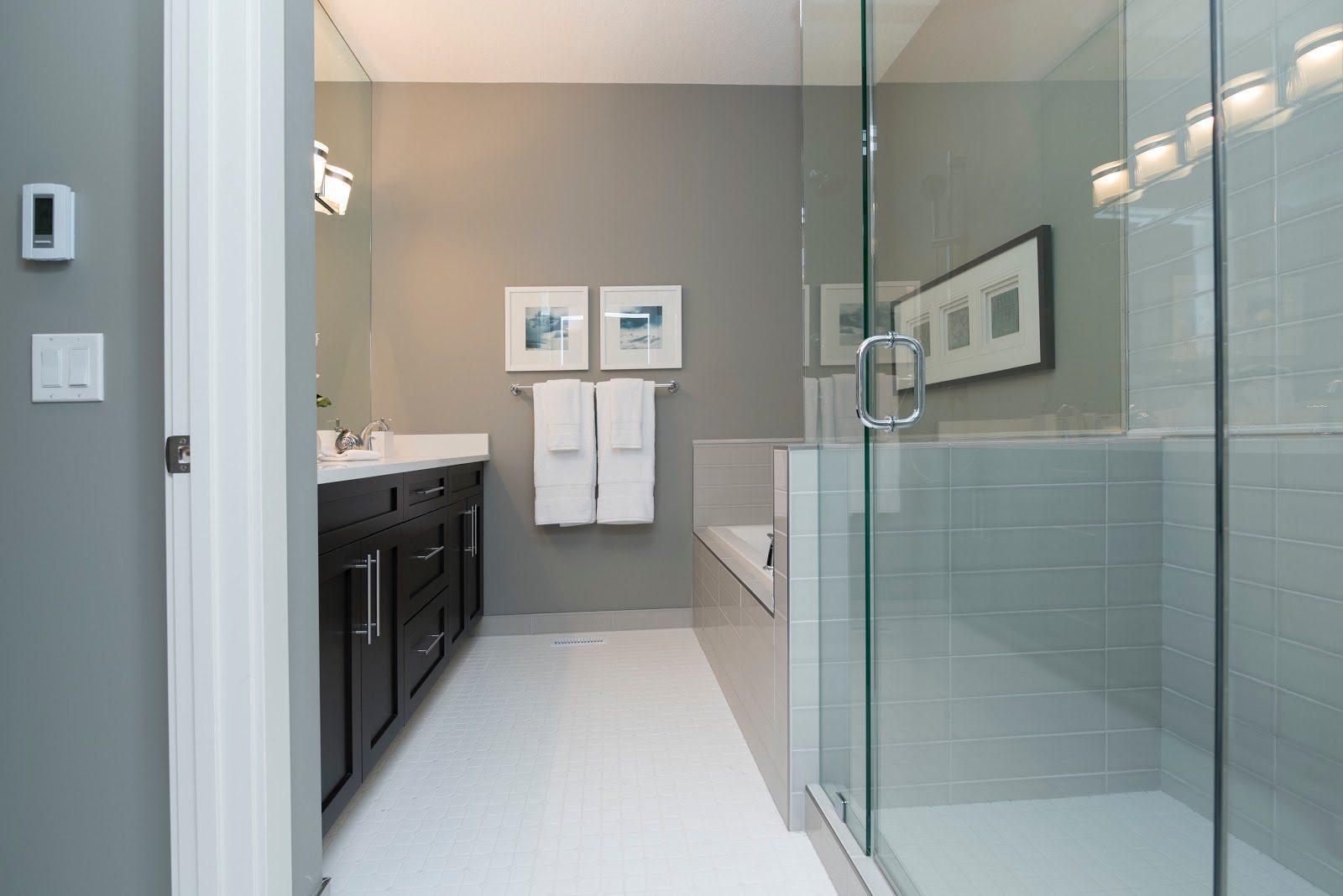 A modern bathroom in a Kansas City house for sale.