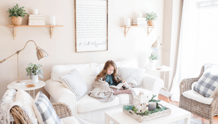 A girl in a downsized home with Marie Kondo's help.