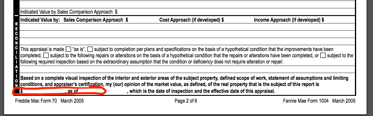 A home appraisal report example.