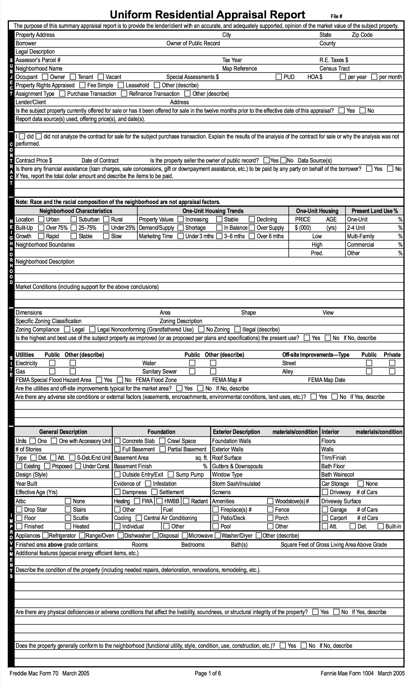 Page 1 of a home appraisal report.