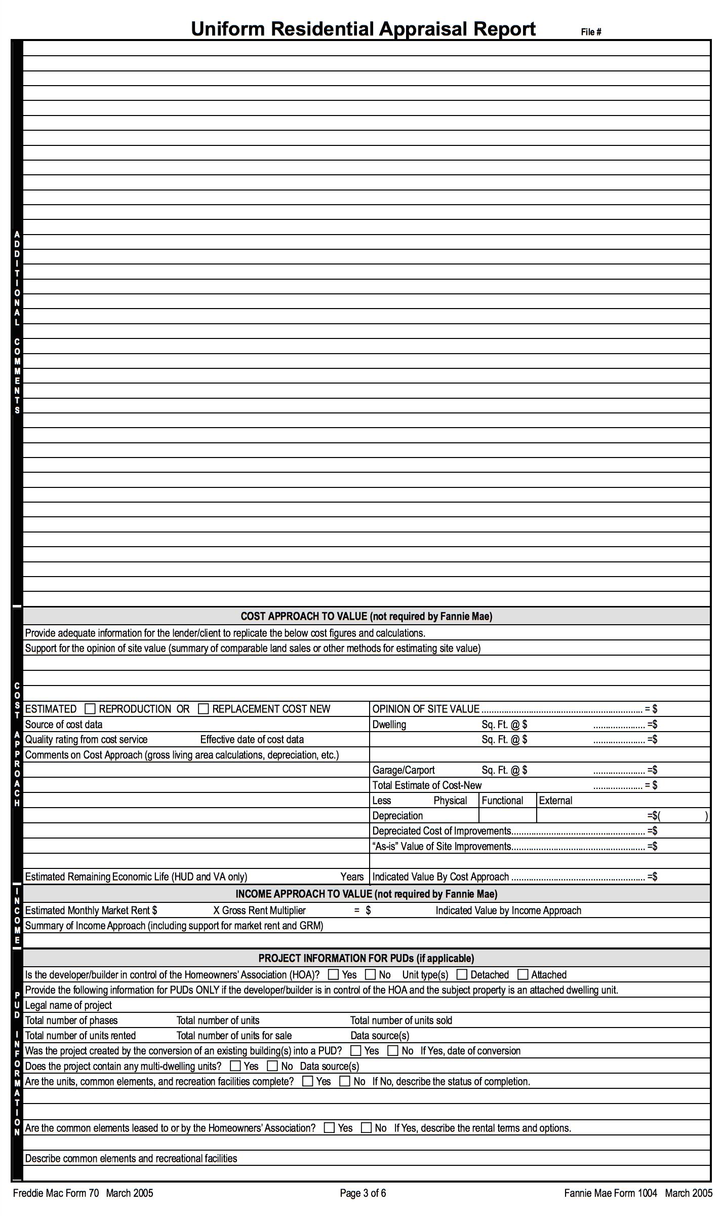 A home appraisal report.