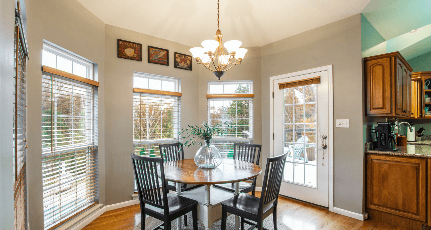 A dining room in a home that is inspected by buyers.