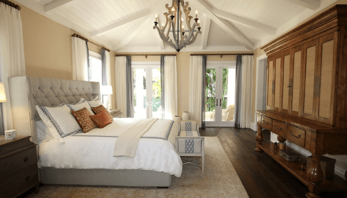 A bedroom in a house that is staged.