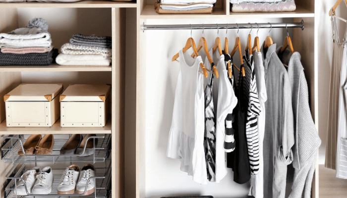 A closet in a house that has been staged.