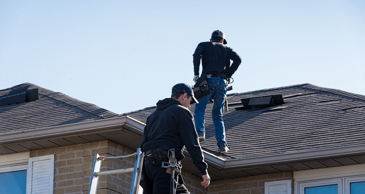 Structural home inspectors on a roof.
