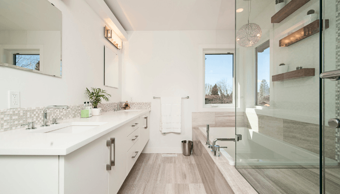 Heated floors that will increase home value.