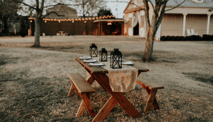 Tables used for a barbecue, as seen in Queer Eye.