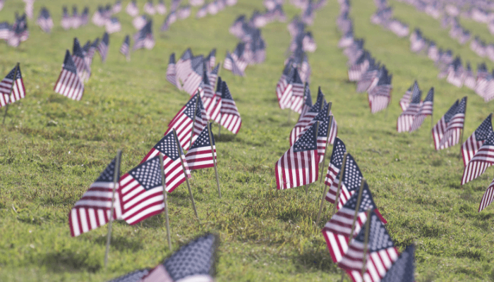 American flags during Memorial Day 2019.