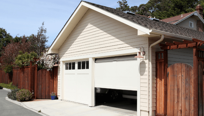 A garage door that is explained in a letter to a new home buyer from the seller.