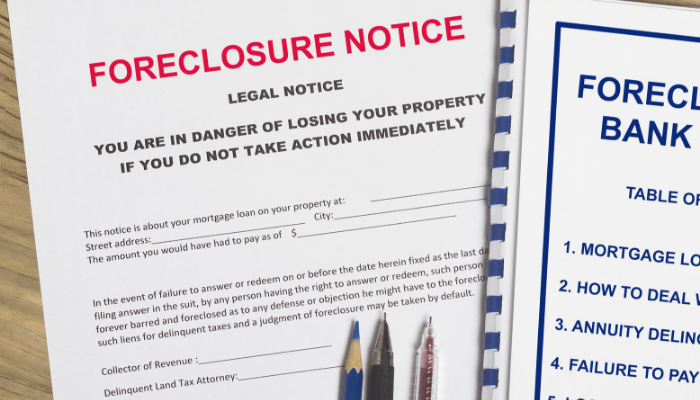 A foreclosure notice during a short sale in real estate.