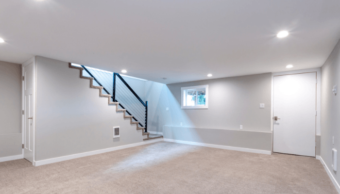 A basement in a house with unpermitted work.