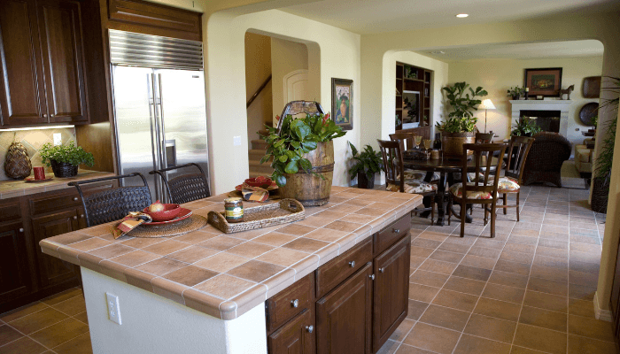 Tile countertops, which are a decorating trend to avoid before selling a house.