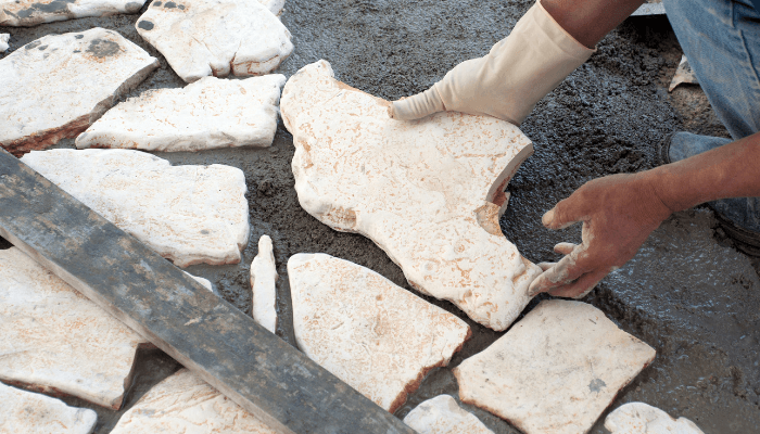 Natural stone pavers used to increase home value.