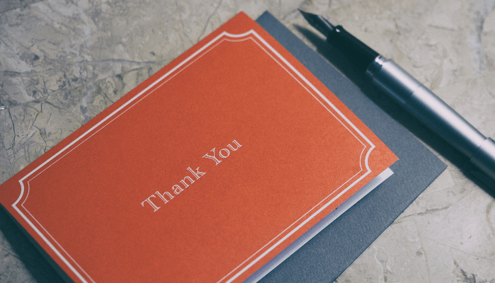 A thank you card that follo