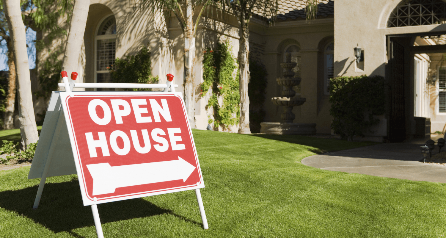 An open house sign.