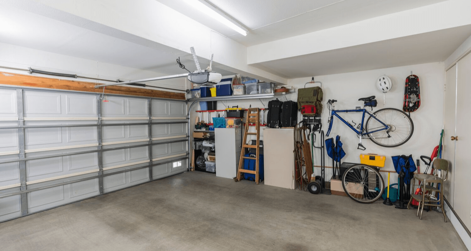 A garage with diy updates.