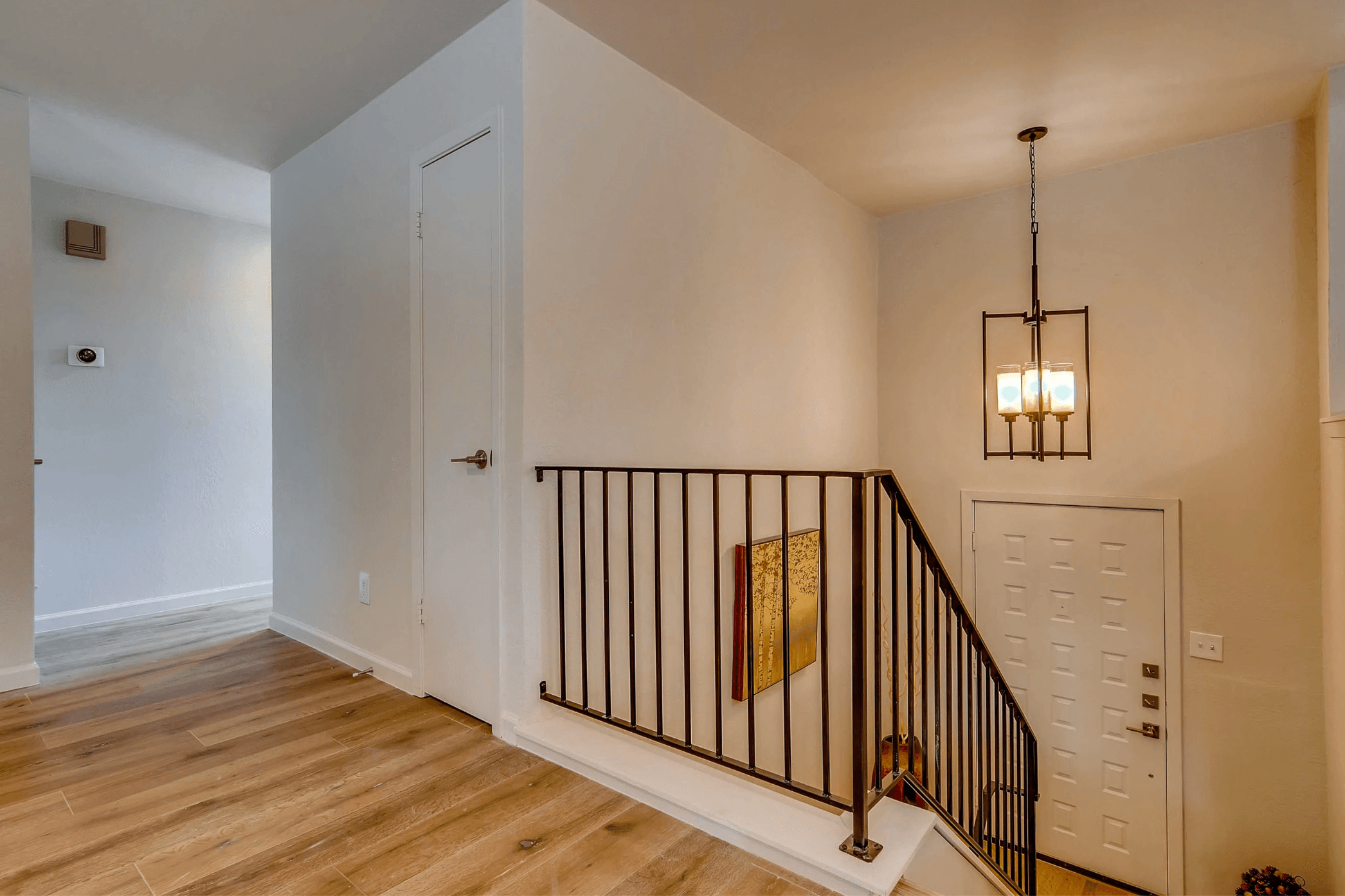 A staircase in a split level layout home.