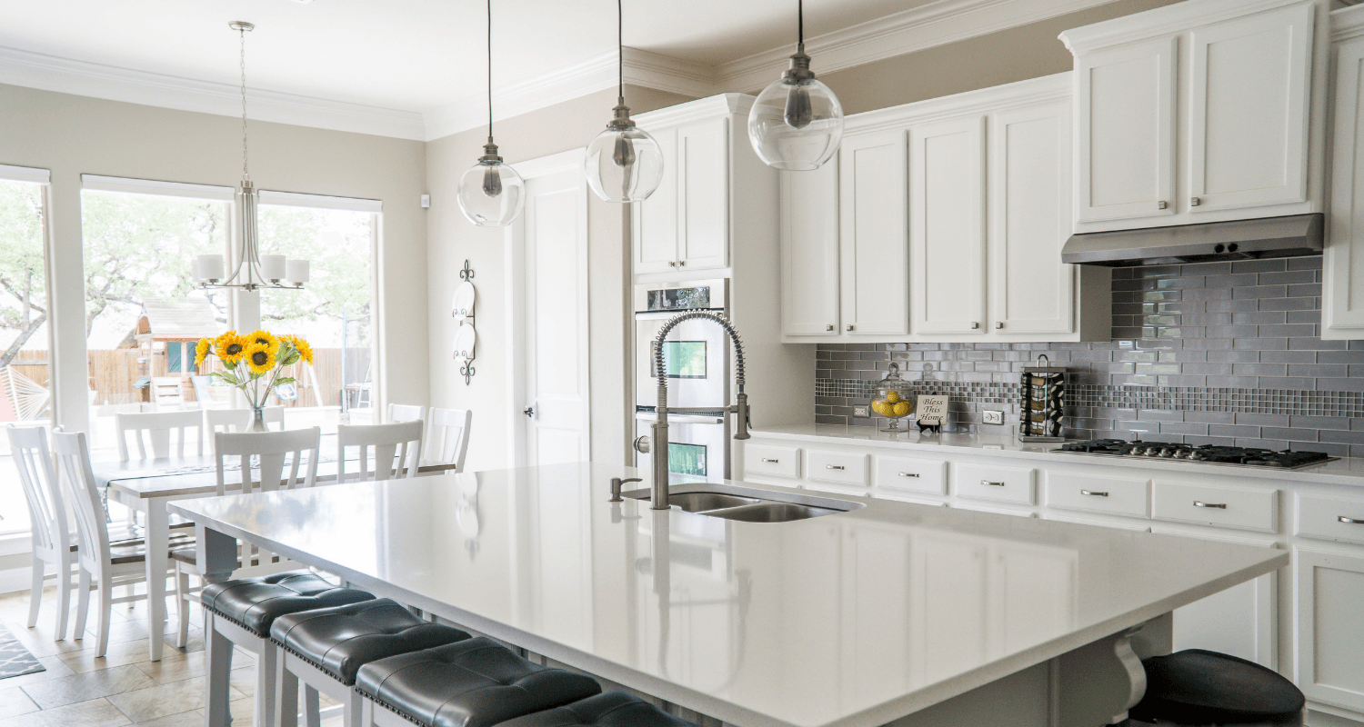 A kitchen in a house that was staged on a budget.