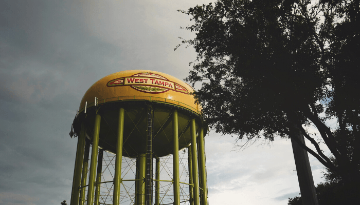A water tower in Tampa, where you can buy a house.