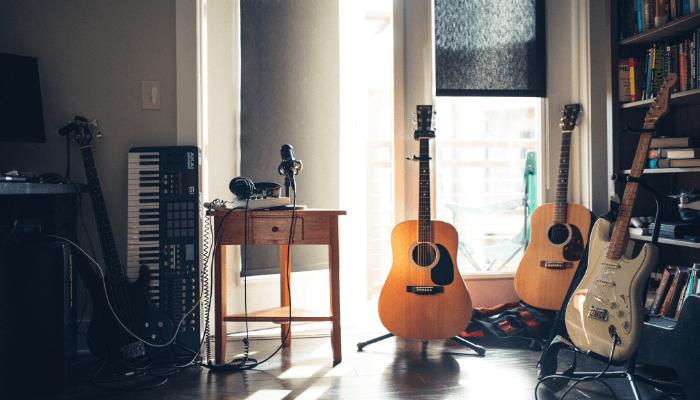 A guitar in an open house.