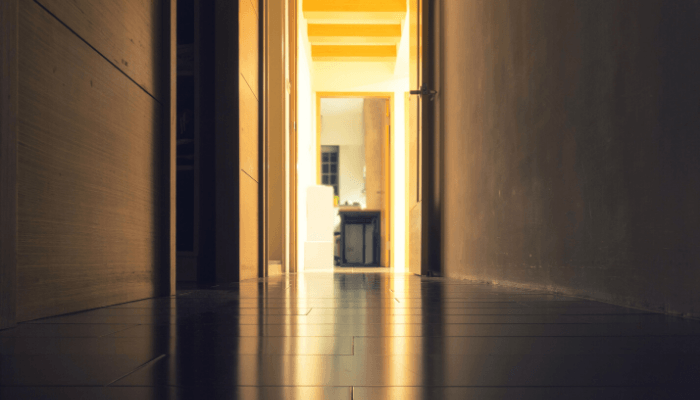 A hallway where you need to have open house etiquette.