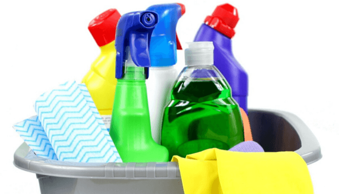 Cleaning supplies used as moving hacks.