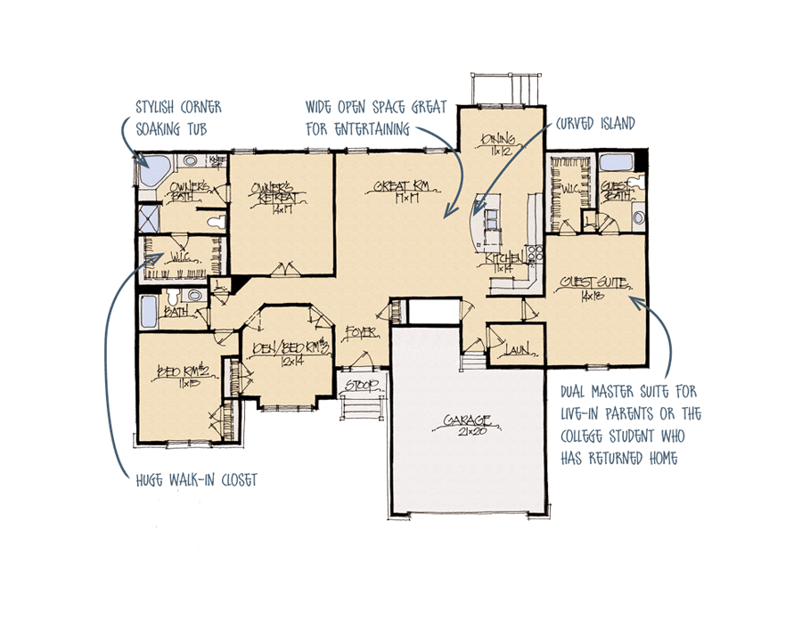 The floorplan of a dual master suite.