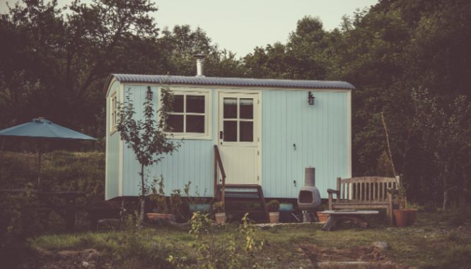 A tiny house that was built cheaply.