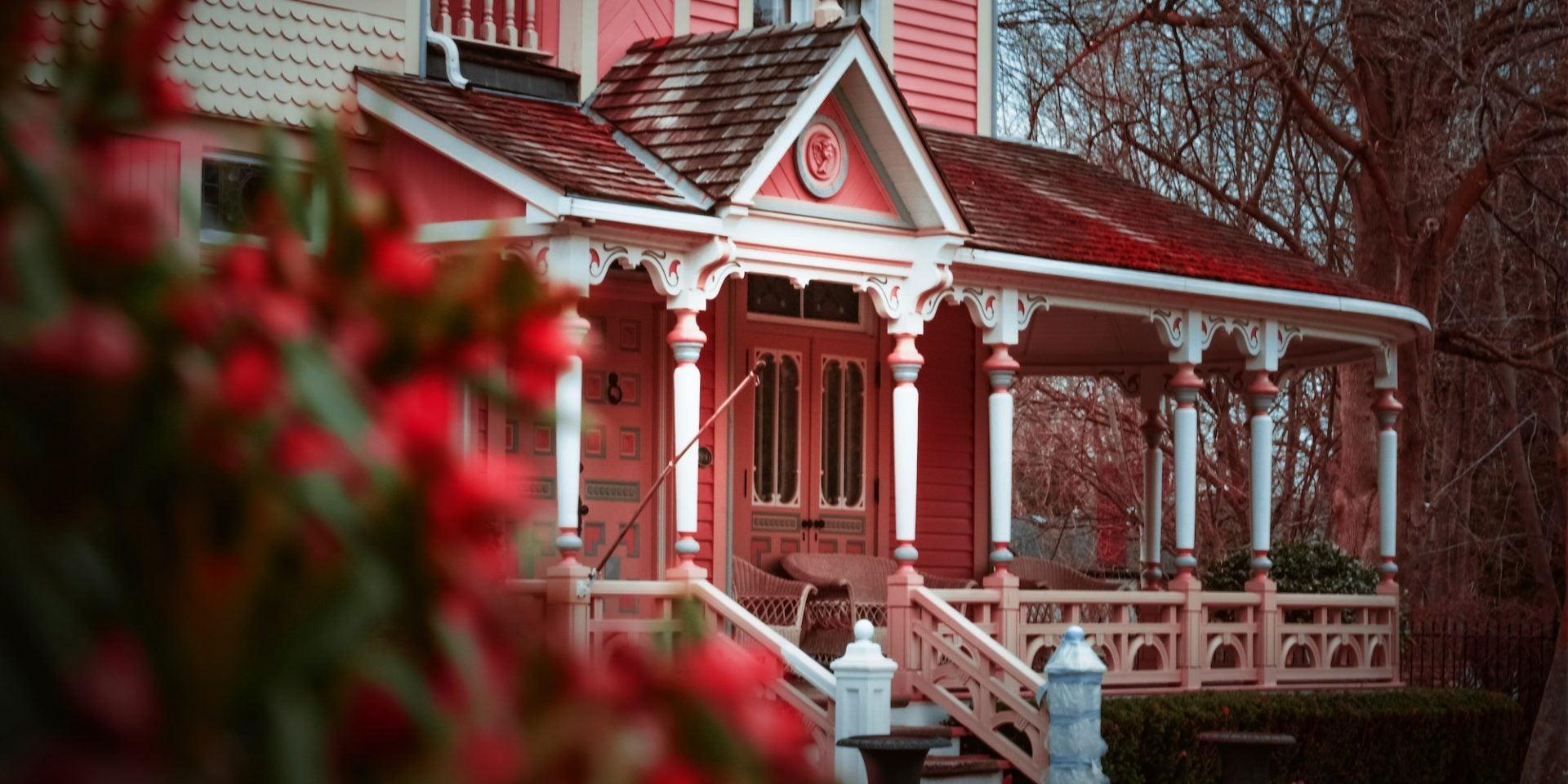 A close-up of an older home's porch